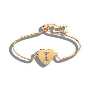 "Gold Heart Letter ""I"" Initial Name CZ Bracelet"
